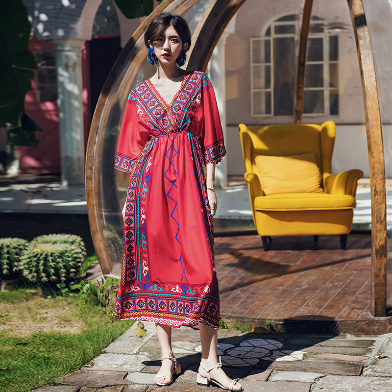 Photo Shoot Thailand Ethnic-Style Beach Skirt Women's Summer New Style Seaside Holiday Slimming Travel Red Bohemian Long Skirts