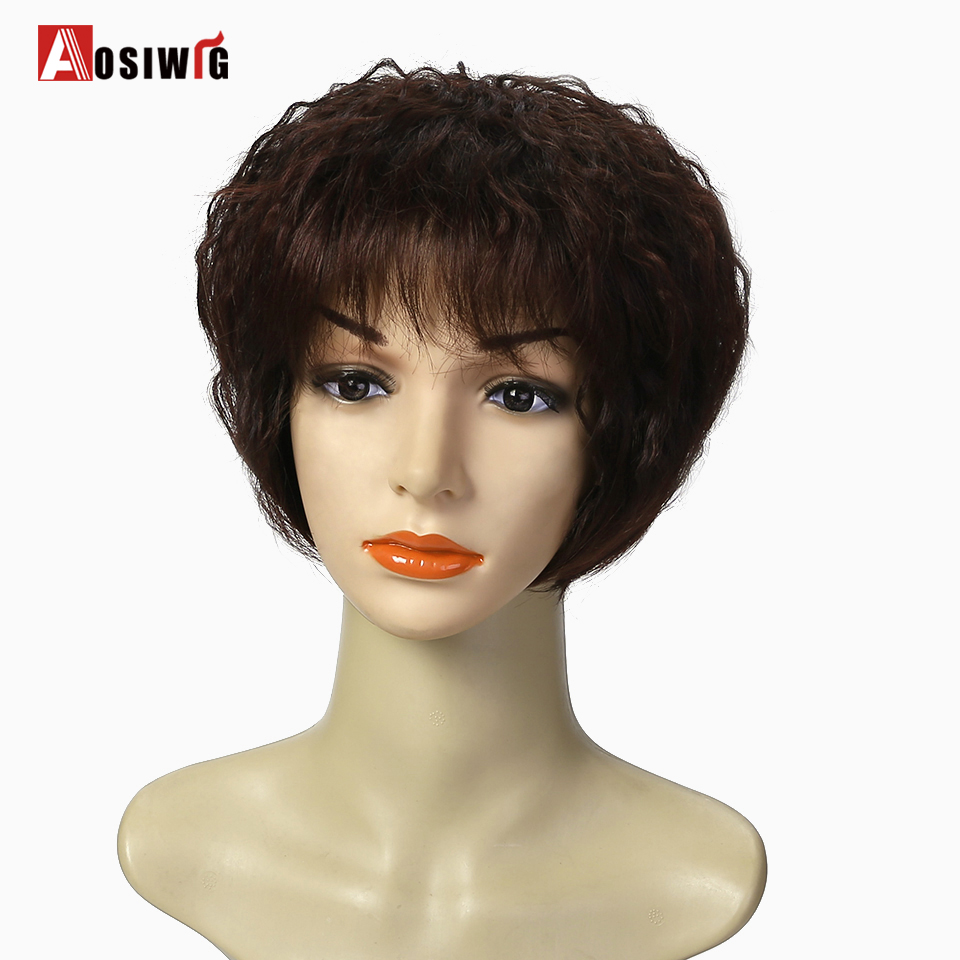 AOSIWIG Brown Short Curly Wigs 5 Colors Heat Resistant Synthetic Hair African American Wigs Cosplay Wigs For Black Women
