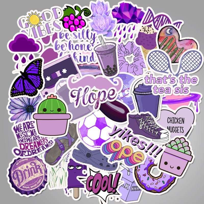 50pcs Cartoon Purple Vsco Cute Small Fresh Stickers Pvc Waterproof Graffiti Decorative Suitcase Guitar Notebook Stickers
