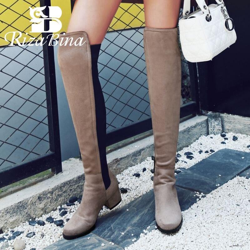 RizaBina Women Fashion Stiletto Over Knee Boots Side Zip