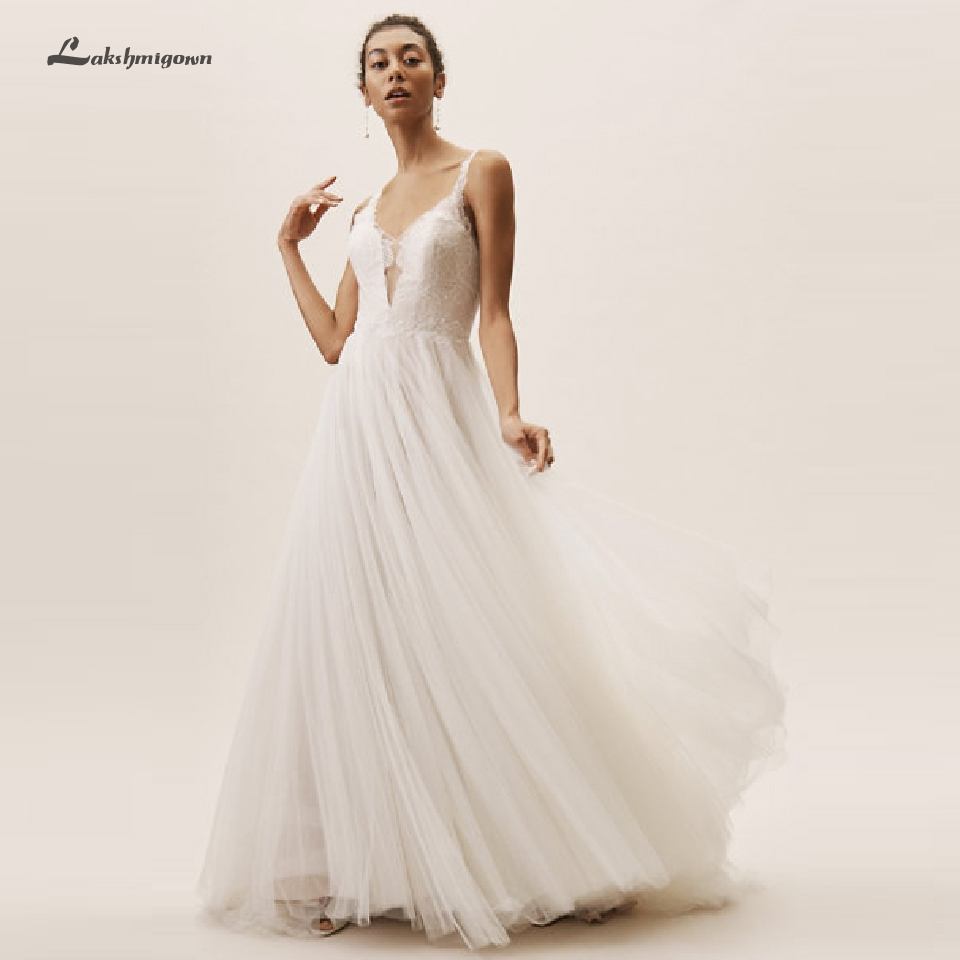 Vestido Novia <font><b>2019</b></font> <font><b>Boho</b></font> <font><b>Wedding</b></font> <font><b>Dress</b></font> Beach Open Back Sheer Lace Bodice <font><b>Sexy</b></font> Bridal <font><b>Wedding</b></font> Gown Country Style Lakshmigown image