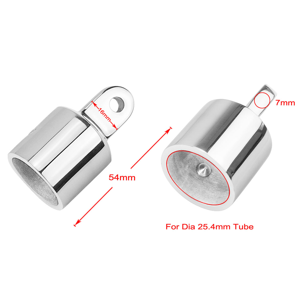2 Pcs. Φ 25mm Stainless Steel Eyelet End Cap Eyes Pipe Cap Pipe Cap End Cover For Boat Bimini Top, Corrosion Resistant