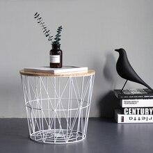 Mesa lateral de hierro forjado minimalista, mesa de centro pequeña, mesa redonda, mesa de noche, esquina de la Mesa, cesta de almacenamiento