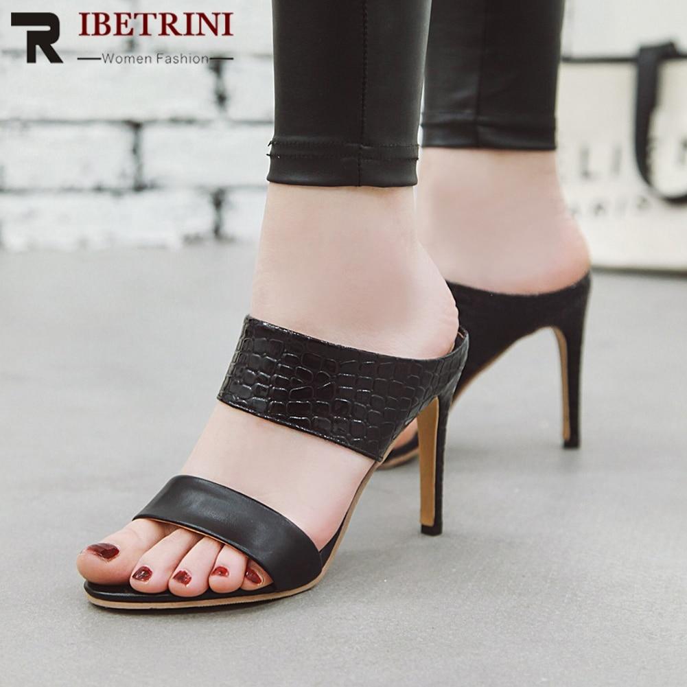 RIBETRINI Elegant Female Summer Shoes Woman Slip On Mixed Colors High Heels Party Wedding Pumps Women Round Toe Office Pumps
