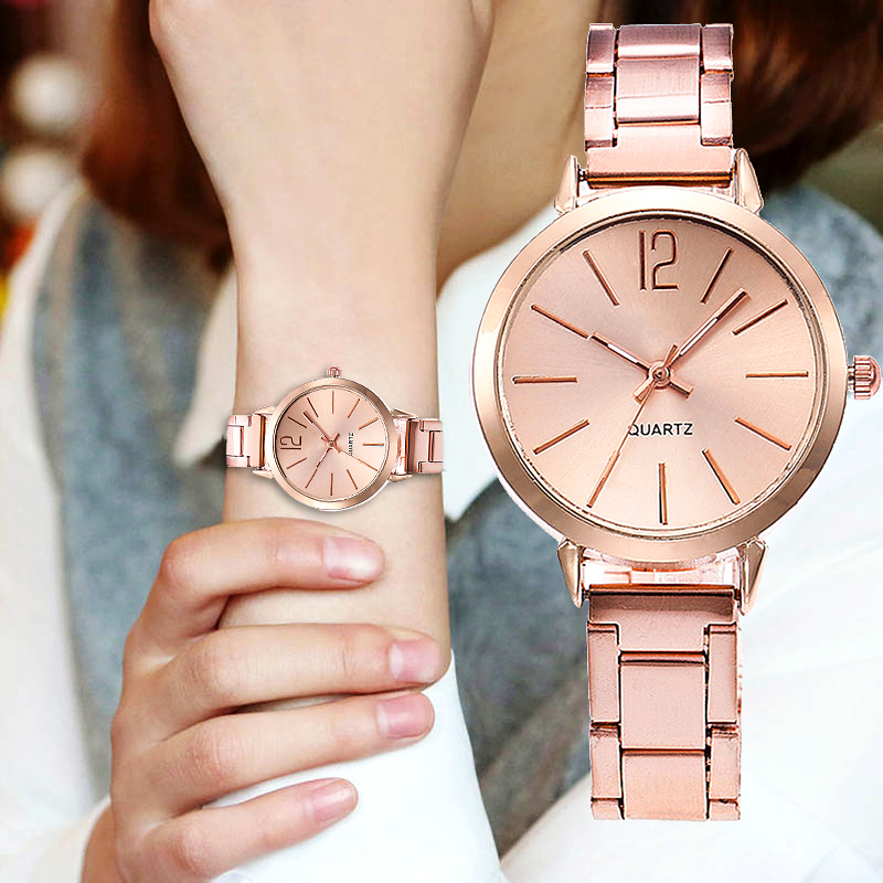New Women's Luxury Watch Rose Gold Alloy Thin Strap Fashion Small Dial Wrist Watch Ladies Wear Casual Gift Clock Relogio