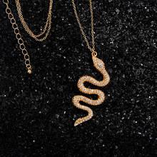 Женская цепочка со змеиным кулоном flatfoosie золотистая ожерелье
