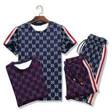 2020 manches courtes gymnases T-shirt + pantalons ensembles hommes sport costume séchage rapide course costume été marque 2 pièces hommes ensembles vêtements de sport