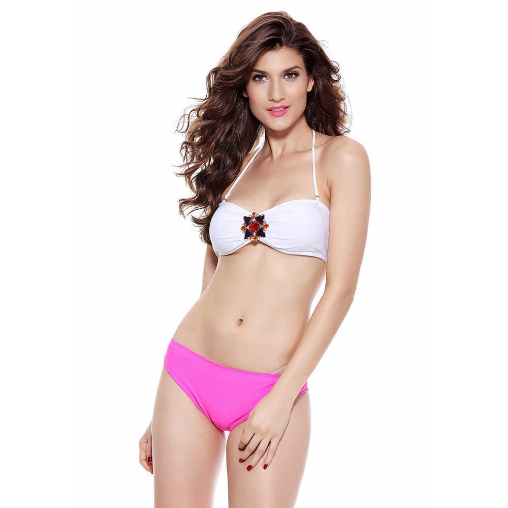 Kobiet Sexy Boho diamentowa klamra Bikini Push-up stroje kąpielowe zakrętka tubki strój kąpielowy kostiumy kąpielowe Biquinis dwuczęściowy pływać lato