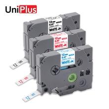 UniPlus TZe-FA3 Compatible for Brother Fabric Tapes TZeFA3R TZeFA231 Iron on Cloth Blue Black Red White Label Maker