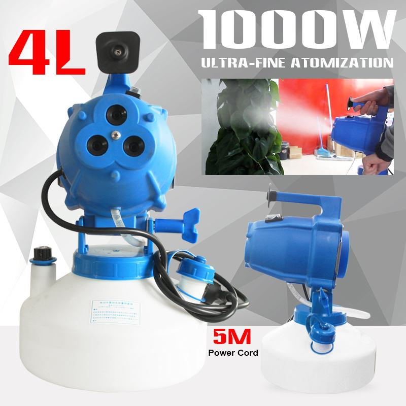 110V/220V 4.5L 1400W Portable Electric ULV Fogger Machine Sprayer Hotels Disinfection Home Sterilizat Residence Office Industry