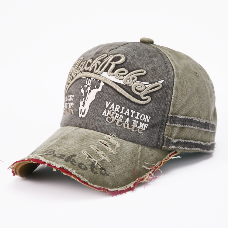 Image 5 - Hot Selling Letter Embroidery for Old Bullhead Baseball Cap Locomotive Washing Male and Female Duck Tongue Cap