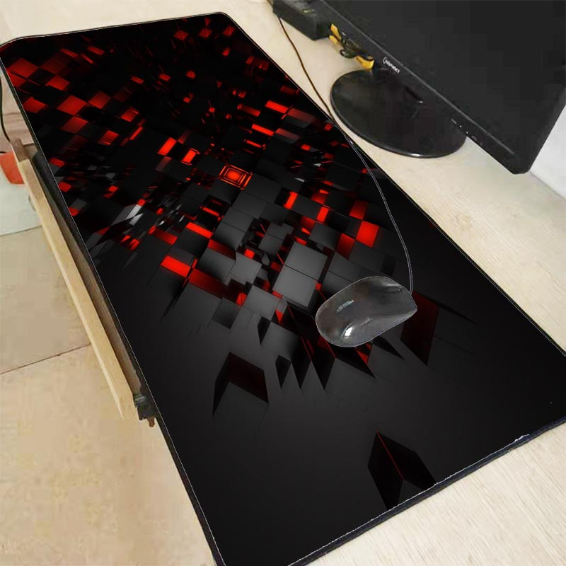Mairuige Personality Black and Red 3D Pattern Gaming Locking Edge Mouse Pad Large Computer Mousepad Desk Mat for CSGO DOTA