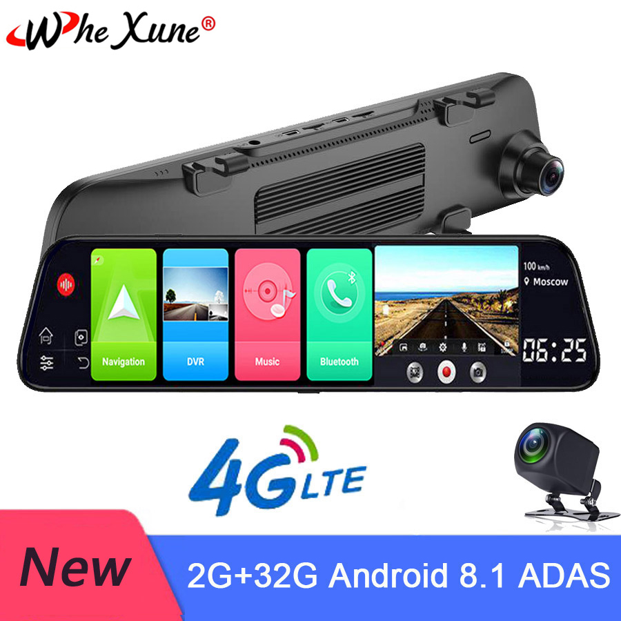 WHEXUNE New Android 8.1 4G Car DVR 12 Inch Smart Rearview Mirror Navigation Full HD Dual 1080P Camera With Bluetooth WIFI RAM 2G