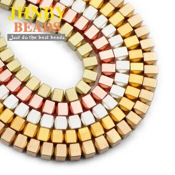 JHNBY oro mate plata cuadrado negro Bicone perlas Piedra Natural hematita 6X6mm separador cordones sueltos para fabricación de joyería Diy Accesorios