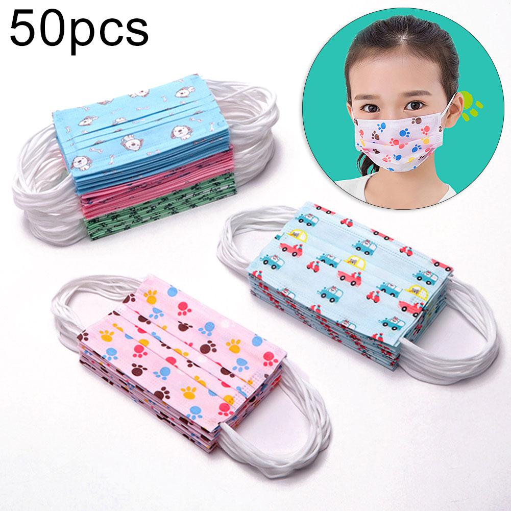 50Pcs Cartoon Disposable Children Breathable Anti-fog Protective Face Mouth Mask Wind And Dust Resistance Against Viruses