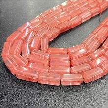 Accesorios de turmalina de sandía rosa de 8X20 MM, cuentas de tubo sueltas para manualidades, abalorios de piedra, diseño de joyería DIY para mujer, hebra de 15,5 pulgadas