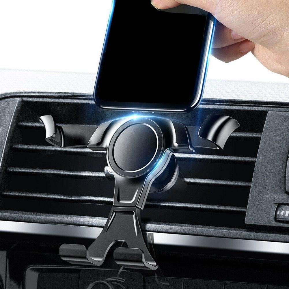 Universal Car Cell Phone Mount Car Phone Holder Gravity Linkage One-Handed 2 in 1 Car Air Vent Holder Dashboard Mount Black
