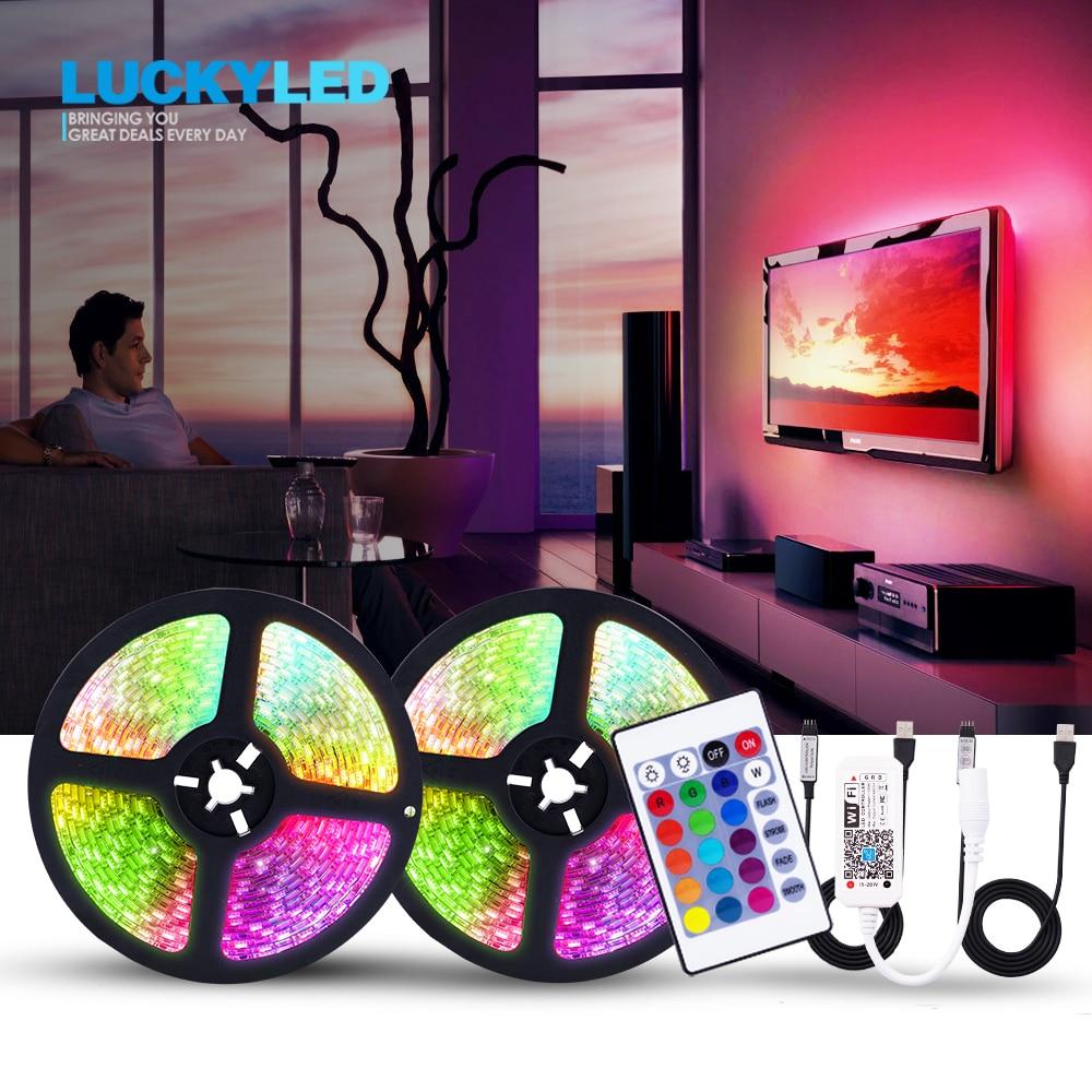 LUCKYLED 5v Led Strip USB TV Backlight Led Light Strip Waterproof 5050 SMD Flexible RGB Tape With Remote 24Key 3Key Wifi Control