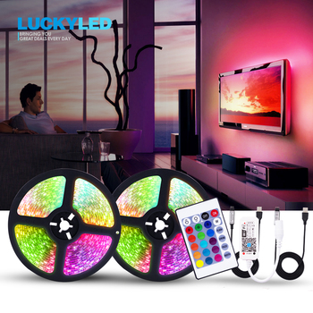 LUCKYLED 5v Led Strip USB TV Backlight Led Light Strip Waterproof 5050 SMD Flexible RGB Tape With Remote 24Key 3Key Wifi Control image