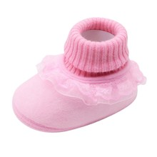 Luokou Lace Solid Color Stitching Cotton Boots Warm Non-slip Baby Shoes Baby Toddler Shoes Toddler Shoesborn Shoes