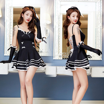 2019 new sexy lingerie dress red underwear Erotic Babydoll maid uniform role playing secretary temptation sexy woman Costumes  e new sexy lingerie lace bow cute cute maid sexy perspective mesh uniform temptation role playing suit clothes bracelet headdress