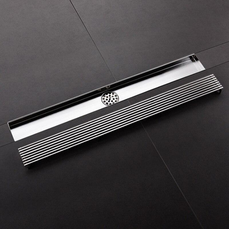 304 long drain de sol salle de douche salle de bains drain de sol toilettes noir en acier inoxydable drainS de sol type anti-odeur