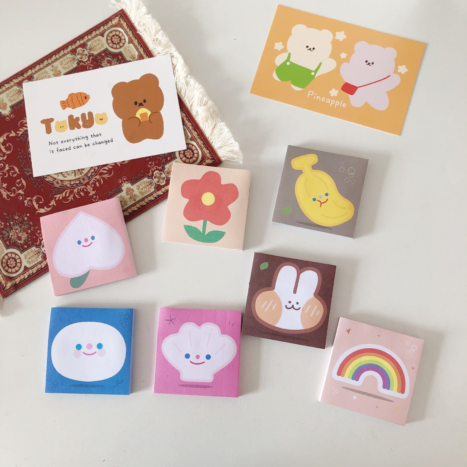 SIXONE 80 Sheets Ins Peach Smile Rabbit Floret Sticky Notes Student Memo Pad Kawaii Message Paper Stickers School Stationery
