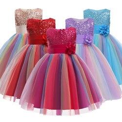 Meninas do natal vestidos, bebê meninas lantejoulas flores princesa vestidos de festa, bebê meninas roupas sem mangas vestidos para o ano novo