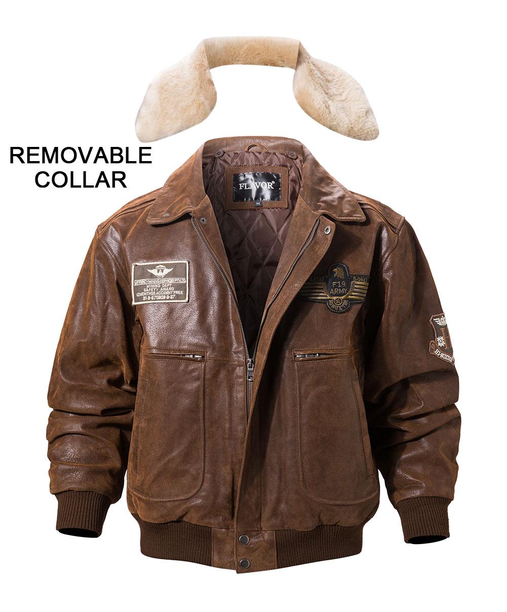 H708110538844453e936c2a4ee8a77e5bk FLAVOR New Men's Real Leather Bomber Jacket with Removable Fur Collar Genuine Leather Pigskin Jackets Winter Warm Coat Men