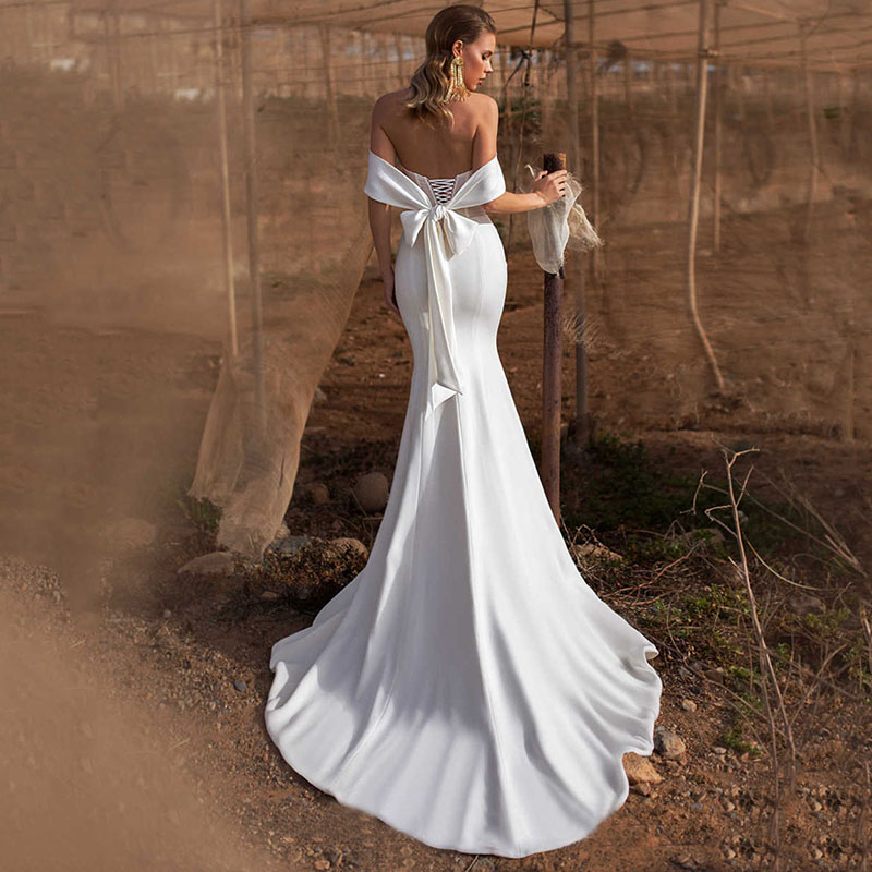 Купить свадебное платье русалки simllle атласное vestido de nueva с