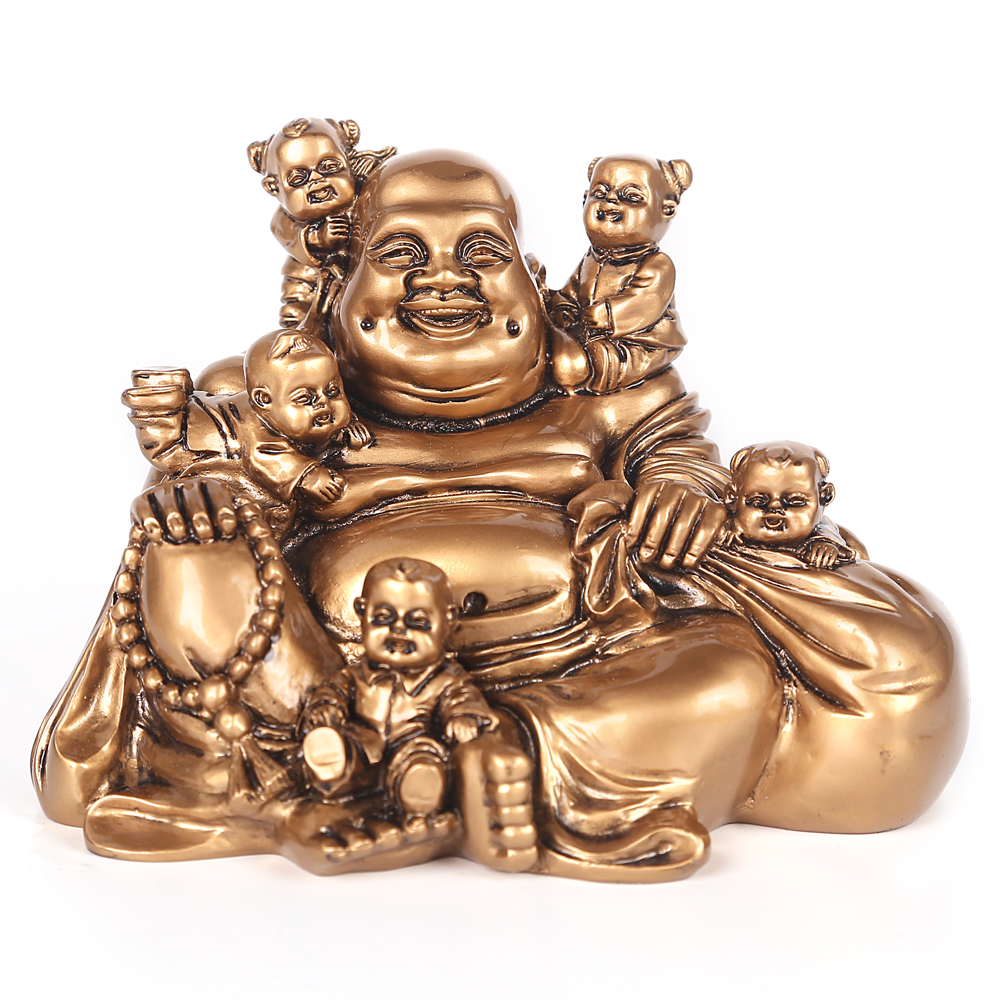 Resin Statue Laughing Buddha Feng Shui Maitreya Buddha Sculpture Smile Mouth Often Open Craft Home Decoration