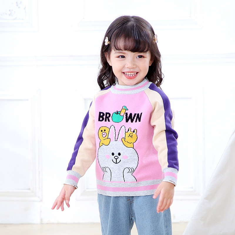 Pick Code GIRL'S Knitted Shirt 2019 Autumn And Winter New Products First Korean-style Creative Hot Selling Cotton Rabbit CHILDRE