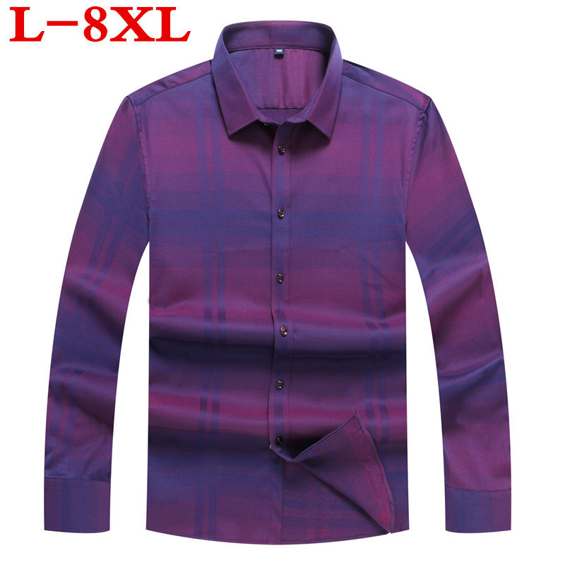 8XL 7XL 6XLplus Size Cotton Sping Autumn Loose Fit Casual Shirts Long Sleeve Striped Shirt Social Men Dress Shirts Chemise Homme