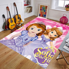 160x80cm Kids Play Mat Cartoon Princess Printing Doormat Flannel Home Decoration Non-slip Floor Mat Carpet Kids Rug Playmat(China)