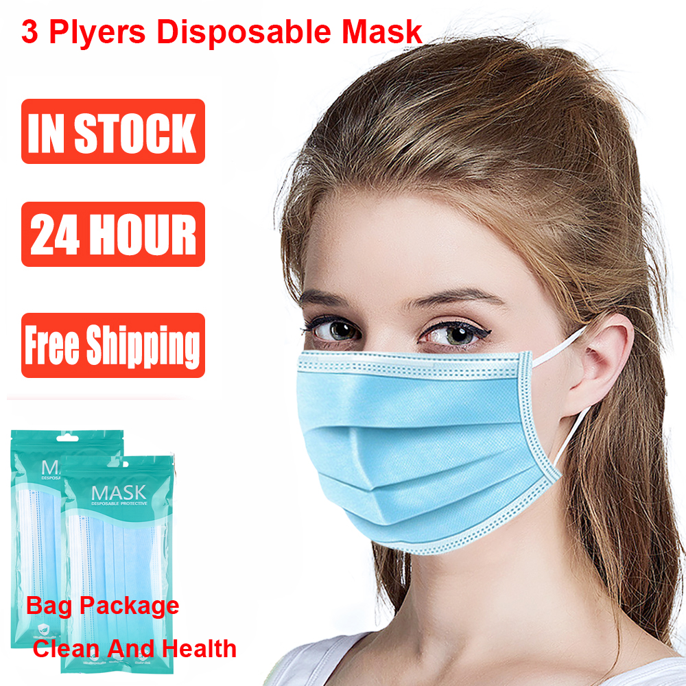 100 PCS Fast Delivery Hot Sale 3-Ply Disposable Face Mask Nonwoven Elastic Earloop Mouth Mask Ear Loop Cover Maske Health Care