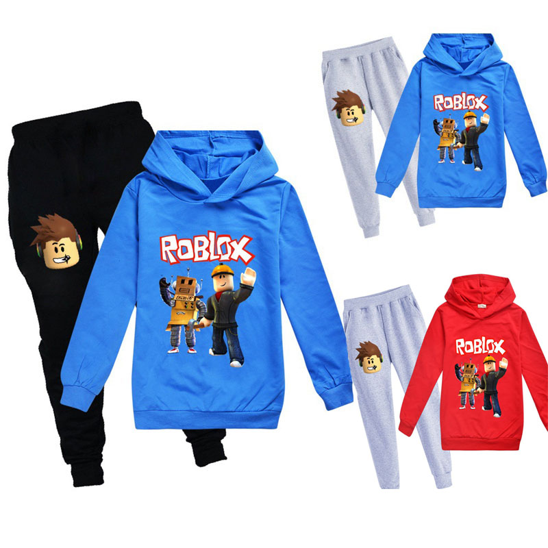 100% Cotton Sweatshirts+trousers Boys Girls Street Sport Hooded Suits  Casual Jogging Suit Children Tracksuit