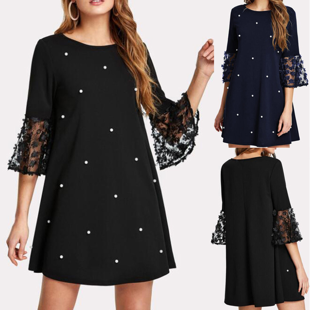 Fashion Women Elegant Sexy Wave Solid Point O neck Spliced Hollow Out Long Sleeve Dress Office Dress Платье Женское