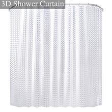 Rideaux de douche PEVA étanches 3D, pour salle de bain, avec crochets, transparents, blancs et clairs, de luxe
