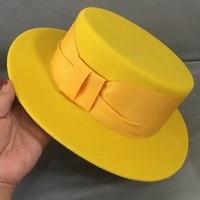 New Fashion Yellow Felt Hat Women Winter Hat Ladies Short Wide Brim Fedora Wool Hat Ribbon Band Ladies Party Wedding Church Hat