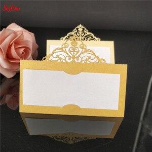 Image 3 - 10 個結婚式の名刺レーザーカット場所エスコートカード Pearlscent 紙カードゲスト名場所カード結婚式のテーブルデコレーション 8z