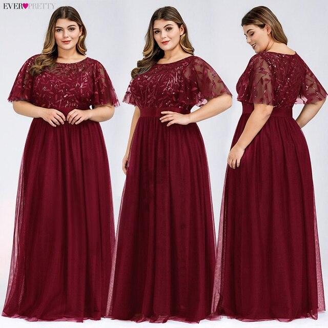 Plus Size Sequined Evening Dresses Long Ever Pretty A-Line O-Neck Tulle Elegant Formal Evening Gowns Vestido Noche Elegante 2020 3