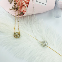Fashion personality round crystal womens necklace three-dimensional pendant atmospheric Bohemian style