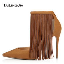 Stylish High Heel Tassel Pumps Women Black Fringe Heels 2020 New Ladies Brown Pointed Toe Heeled Party Shoes Large Size Footwear цена 2017