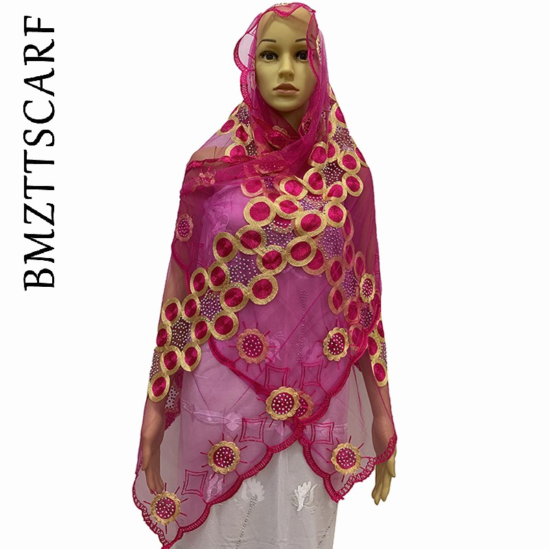 New African Scarfs  Embroidery Women Net Small Scarf Hijab Scarf For Shawls BM1026