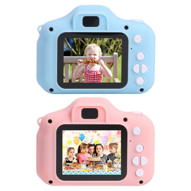 HD 1080P X2 2 inch Cartoon Video Camera Children's Camera Intelligent Mini Camera Digital Photo Camera Children's Birthday Gift image