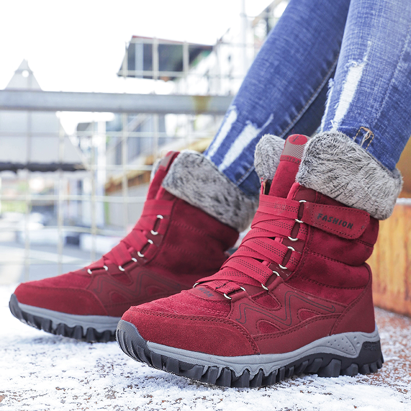 Image 4 - Suede Leather Women Snow Boots Winter Warm Plush Krasovki Ankle Women's boots High Top Waterproof Ankle Wedge Boots Flat Shoes-in Women's Flats from Shoes