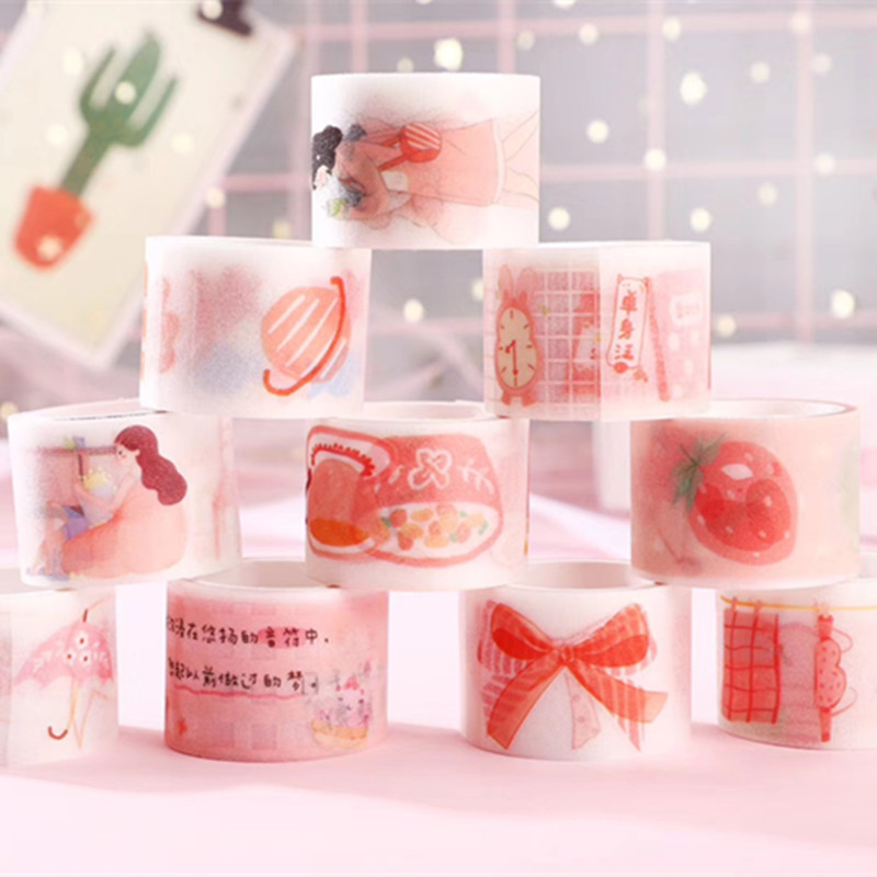 20set/1lot Washi Masking Tapes Frosted Retro Aesthetic Decorative Adhesive Scrapbooking DIY Paper Japanese Stickers 3M