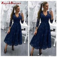 Navy Blue V-neck Zipper Long Mother of Bride Dress