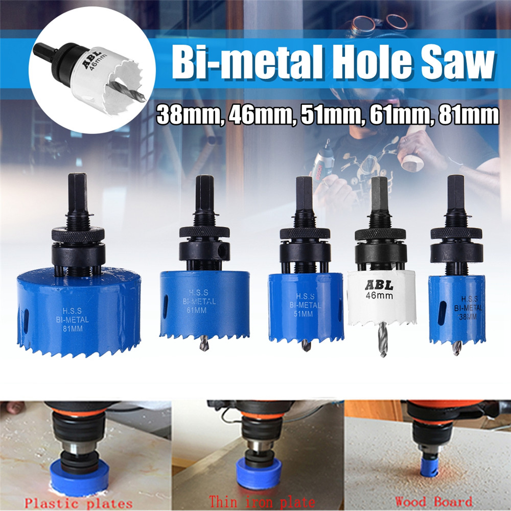 Bi-metal Hole Saw 35mm-114mm Arbor Pilot Hole Saw Drill Bit Metal Wood