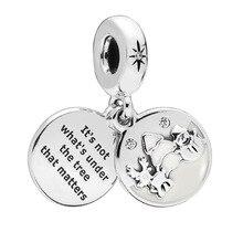 Бусины из стерлингового серебра 925 Идеальный Рождественский подвеска, прозрачный Cz& белая эмаль подходит ожерелье Pandora& браслет ювелирные изделия